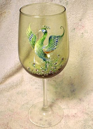 Hand Painted Wine Glass by Fred J. Artisty with peacock spreading his wings