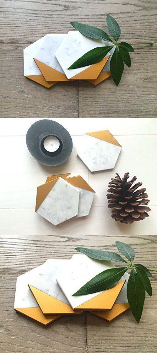 Hexagon Marble Gold Coaster Set Of 4 Drink Coasters Bar Coasters Or Home Decor 604765131384 Ebay Gold Coasters Bar Coasters Decor Buy