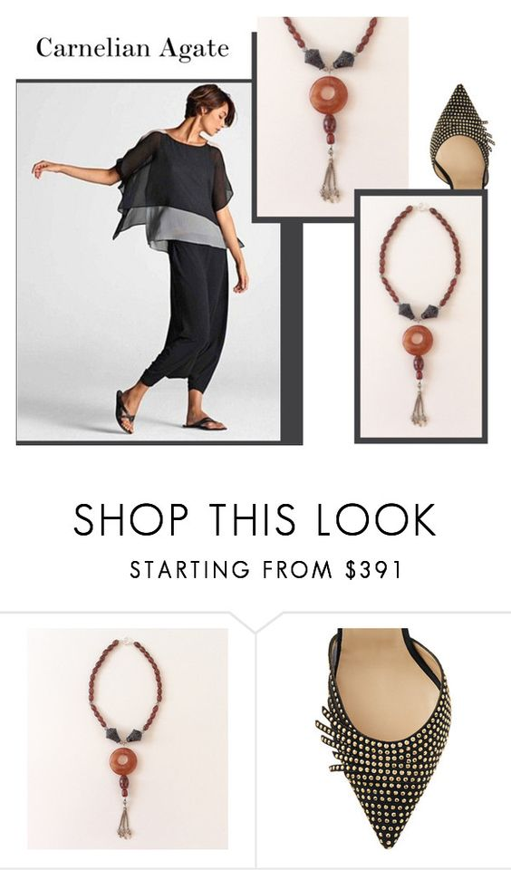"""""""Carnelian Agate"""" by sibaru ❤ liked on Polyvore featuring Jimmy Choo"""