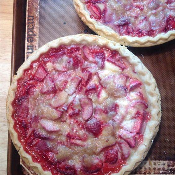 Chef Neal S Strawberry Rhubarb Sour Cream Pies Recipe Sour Cream Recipes Rhubarb Recipes Strawberry Rhubarb