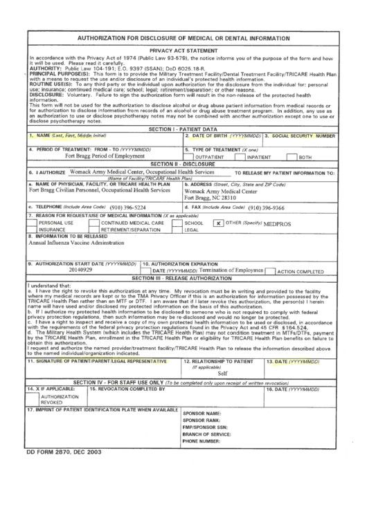 Dd Form 2870 Blank Download Dd Form 2870 Authorization For Disclosure In 2020 Rental Agreement Templates Statement Template Job Application Form