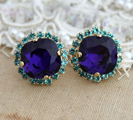 Blue+and+Purple+Rhinestone+Stud+earrings+14kk+plated+by+iloniti,+$45.00 - The colors are amazing!