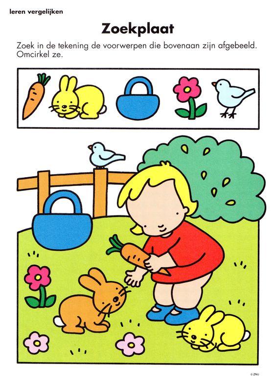 opdracht kleuterklas zoekplaat lente boerderij dieren pasen