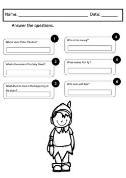 math worksheet : peter pan  literacy and math worksheets  comprehension questions  : Maths Comprehension Worksheets
