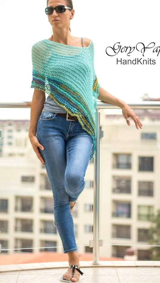 Loose cotton sweater Hand Knit cotton women sweater Blue  knit cotton sweater Ready for shipping XS size Arm Knitting women pullover