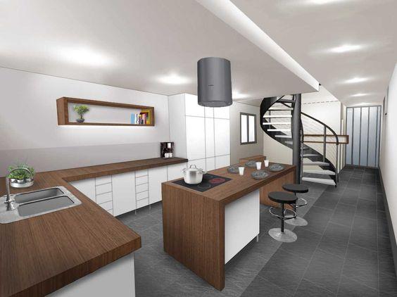 Cuisine déco blanc bois gris escalier colimaçon esprit industriel ...