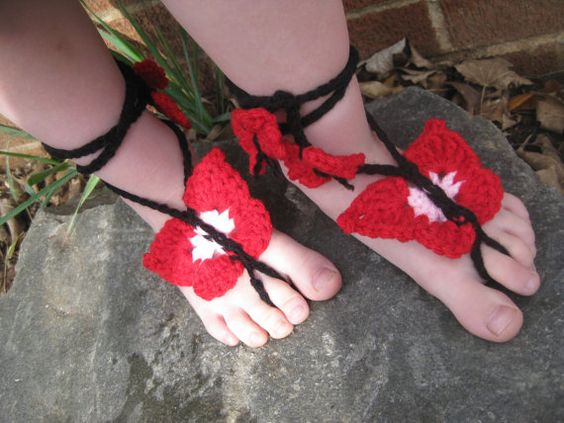 Toddler Butterfly Crochet Barefoot Sandals in Pink and Red
