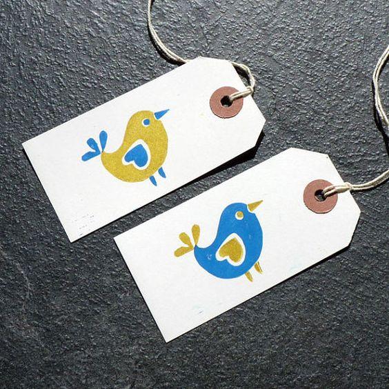 Birds & Bunting Hand-printed Linocut Gift Tags 4pk