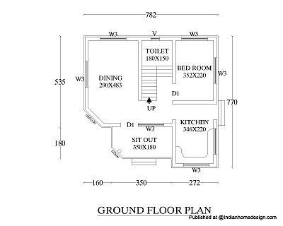 Wondrous Small But Beautiful House Design 550 Sqft 1Bhk House Floor Plan Largest Home Design Picture Inspirations Pitcheantrous