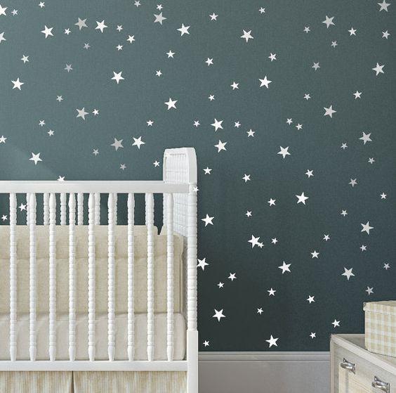 Sterne Vinyl Aufkleber 148 Silber Sterne Stern Wand & von Jesabi