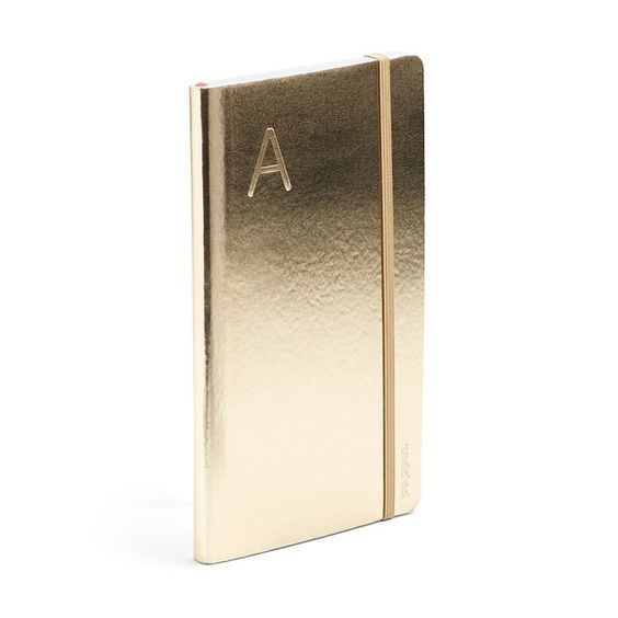 Gold Medium Soft Cover Notebook with Blind Deboss Initial - R,