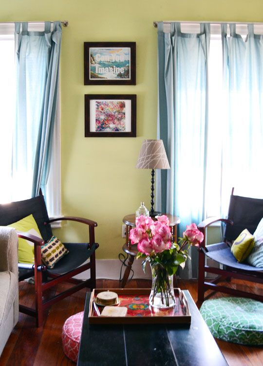 Green Curtains black and green curtains : Love the colors (green wall color + blue curtains + blue/green ...