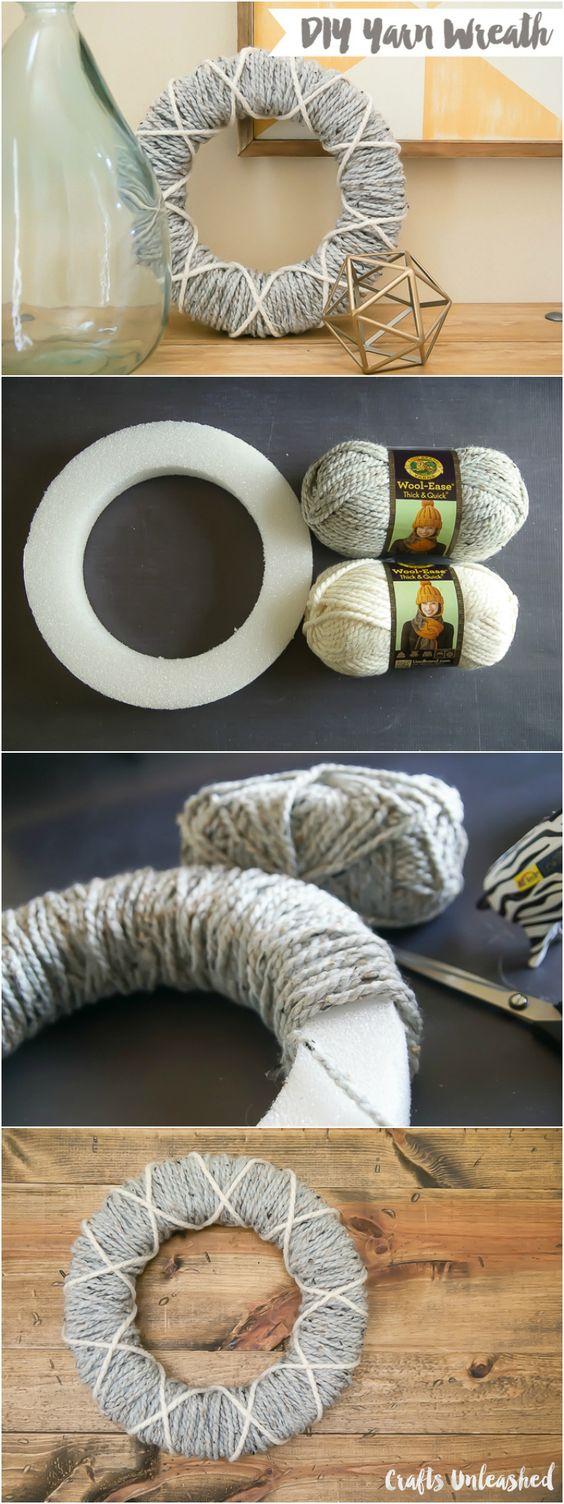 diy yarn wreath step by step   crafts unleashed yarns
