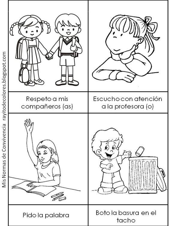 Normas de convivencia en el aula. Dibujos para colorear ~ Rayito ...