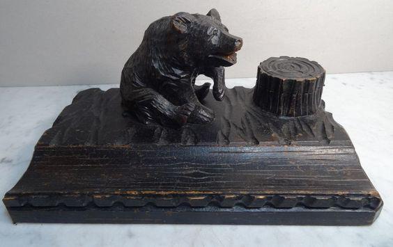 Antik Holzschnitzarbeit Sculptur Brienzer Bär Schreibtischablage Tintenfass 1900