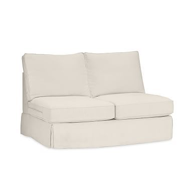 PB Comfort Square Arm Slipcovered Armless Love Seat, Box Edge, Down Blend Wrapped Cushions, Twill Cream