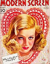 Valentine-themed movie fan magazine covers, c. 1930s - 1950s.