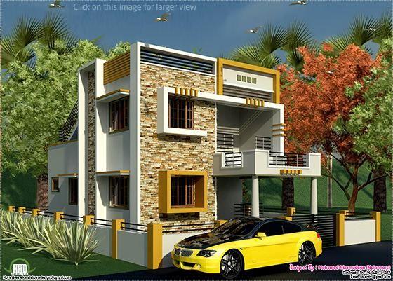 South Indian Style New Modern 1460 Sq Feet House Design Duplex House Design Home Building Design House Design New house indian style