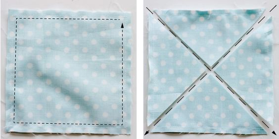 half square triangles from two squares. Sew around the outside and cut on the diagonals. This is my favorite method!: