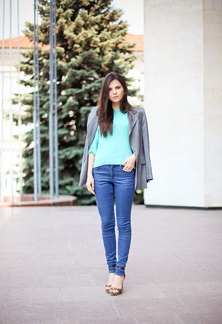 mint + grey + denim