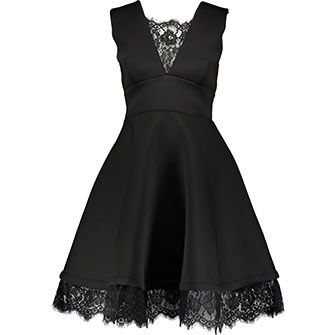 Black Scuba Flared Dress