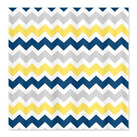 Yellow Blue Grey Chevron Stripes Shower Curtain Grey Chevron Blue Grey And