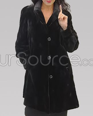 Warm Reversible Sheared Mink Coat with Collar   Mink Coats