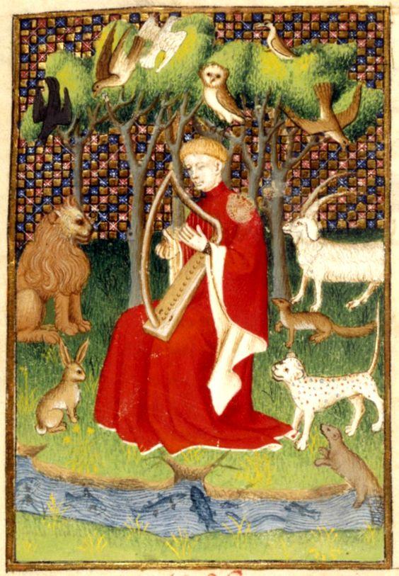 """""""Orfeo incanta gli animali con il suono della sua lira"""", miniatura tratta dal 'Book of the Queen' (1410-1414 circa), British Library, Londra."""