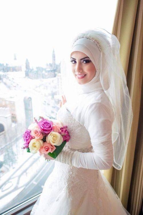 صورة عروسة جميلة Muslim Bride Hijab Wedding Dresses Bridal Hijab
