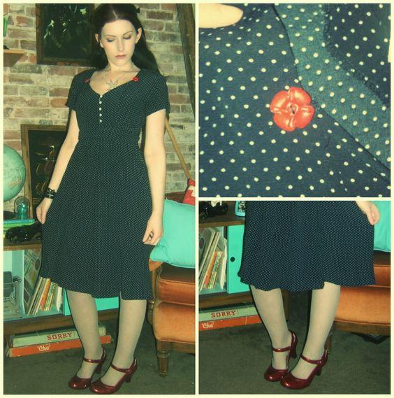 Craft, Thrift, or Die: Vintage-ier than 90s refashion. Thrift store dress refashion