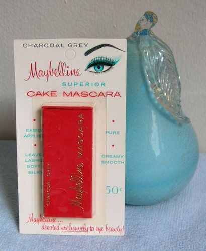 old school mascara 1965.You would wet the brush with water.