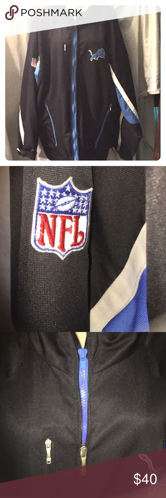 Men's reebox NFL Detroit Lions jacket 🦁  🏈 The season might be over 😢 but don't let that stop you from showing your ❤️ to the lions with this NFL jacket! Black with Honolulu blue and white strips on sleeves and Detroit lion logo on front.  It has a double zipper to either show black or a little pop of that Honolulu blue! Reebok Jackets & Coats