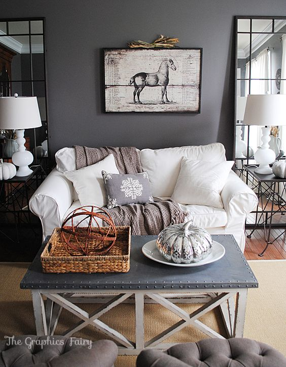 fall home tour living room grey walls with perfectly balanced furnishings and accessories balanced living room