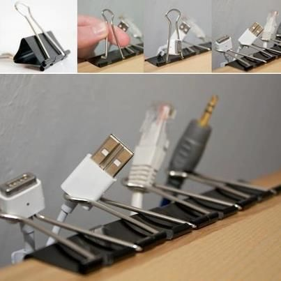 binder clips for cord organization