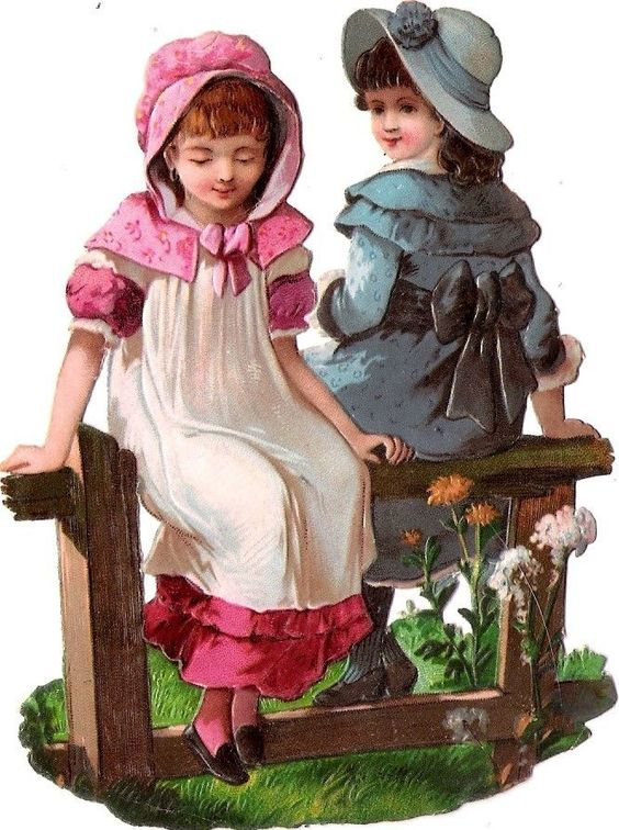 Oblaten Glanzbild scrap die cut chromo Kind child girl friend sister Mädchen: