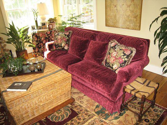 High Back – Ultra Down Seating - 2 Seat Cushions – 2 Back Cushions – Upholstered in Burgundy Velvet Originally $2,500 sell $1,000  Visit - www.finefurniturebargains.com   Sofa soloha http://soloha.net/sofa LH: 0903653333