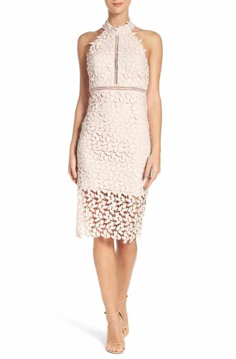 Reduce Bardot Gemma Halter Lace Sheath Dress Women