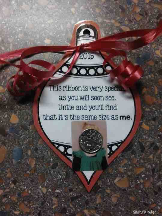 Adorable ornament with ribbon cut the