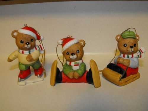 Homco Home Interiors Winter Bears Tree Ornament Figurines Set of 3