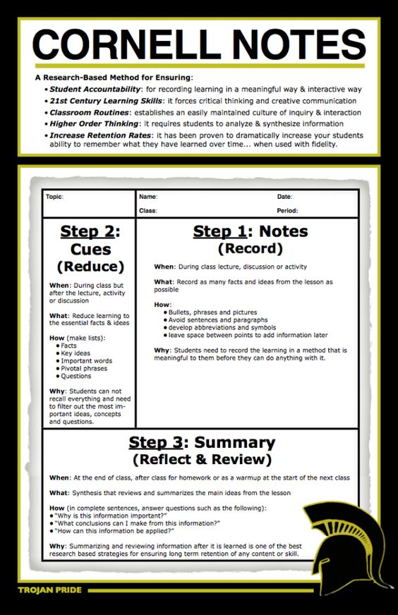 Note-taking Learning Pinterest Note, School and College - cornell note