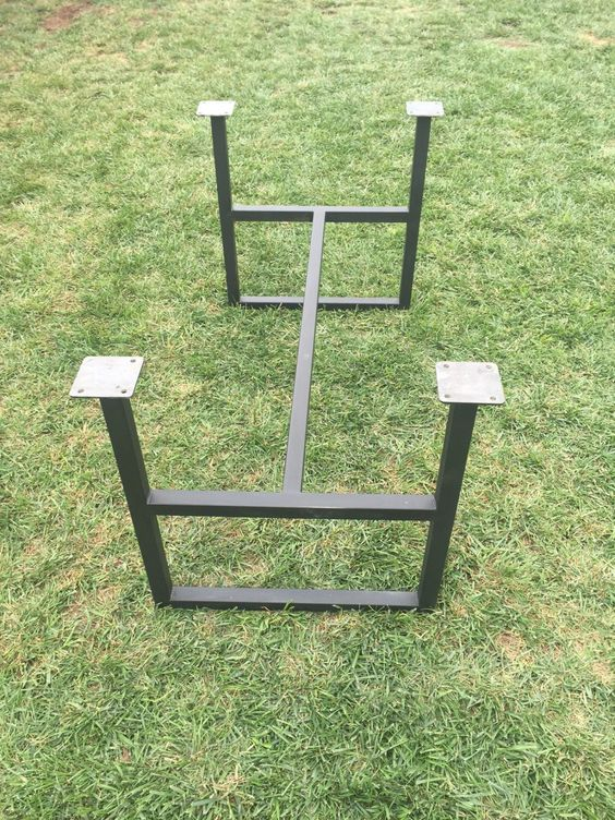 Metal legs trestle base square adjustable height table for Square iron table legs
