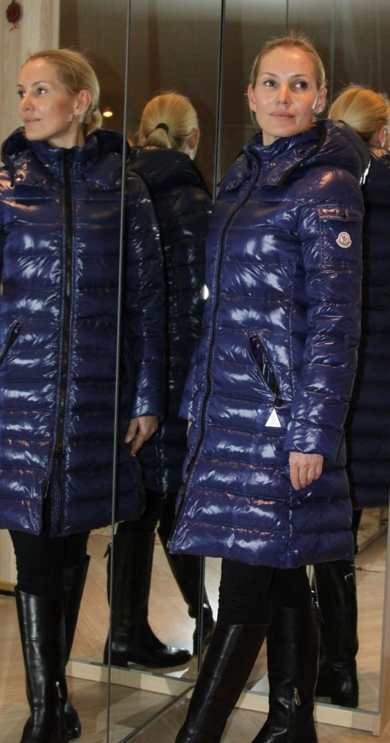 Blonde woman in shiny blue Moncler down coat. | Down | Pinterest