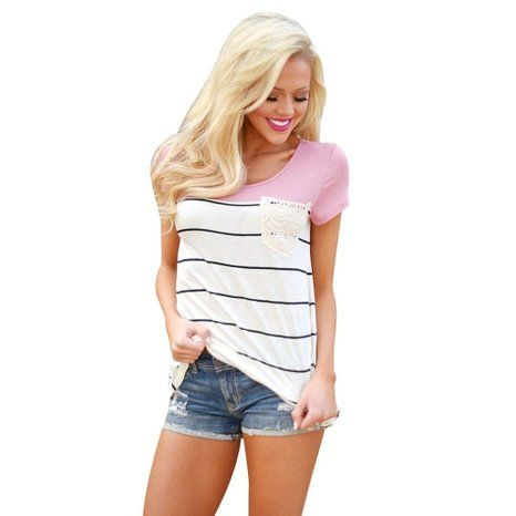 Blouses, Toraway Women Summer Stripe Short Sleeve T-Shirt Top Blouse at Amazon Women's Clothing store: