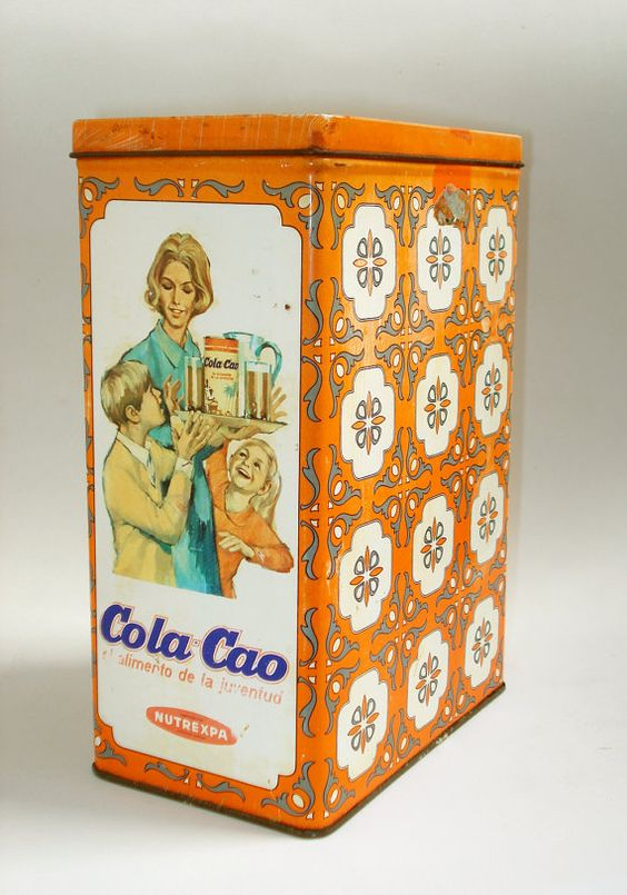 Vintage metal Cola Cao tin by LaVitrine on Etsy, €16.00: