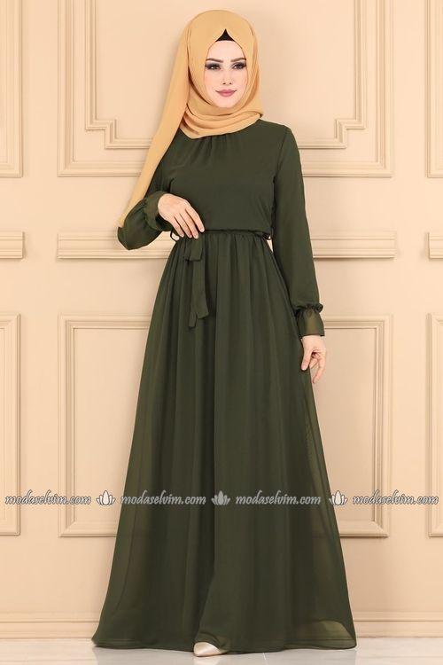 Modaselvim Elbise Sifon Tesettur Elbise 4198ef311 Haki Elbise Elbise Modelleri Islami Giyim