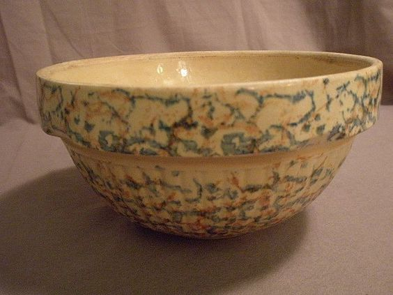 "#9 Red Wing Pottery ""Saffron Ware"" spatter mixing bowl. A wonderful Red Wing Pottery mixing bowl, circa 1920, in saffron or buttery yellow glaze which is further enhanced by blue and orange spatter decoration."