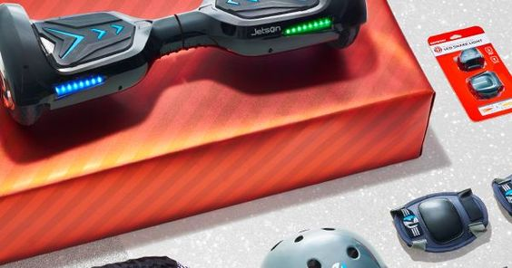 Liked on Pinterest: This Jetson V6 Hoverboard is a top gift this holiday. And its easy to see why: it lights up has built-in Bluetooth speakers and is only available at Target. Complete with ensemble with safety gear cool kicks sunglasses and a backpack to carry knee elbow and wrist pads between cruises. Wrap it up for one show-stopping Christmas gift and lots of sidewalk cred for your kid.