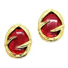 YVES SAINT LAURENT, gold-tone metal earrings, circa 1980's