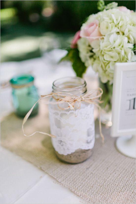 laced wrapped mason jar