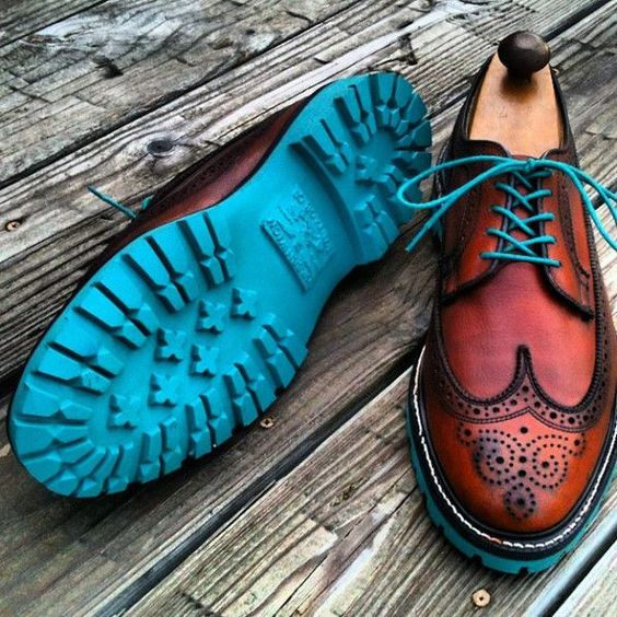 A pop of colour on the soles! #mens #fashion #mensfashion